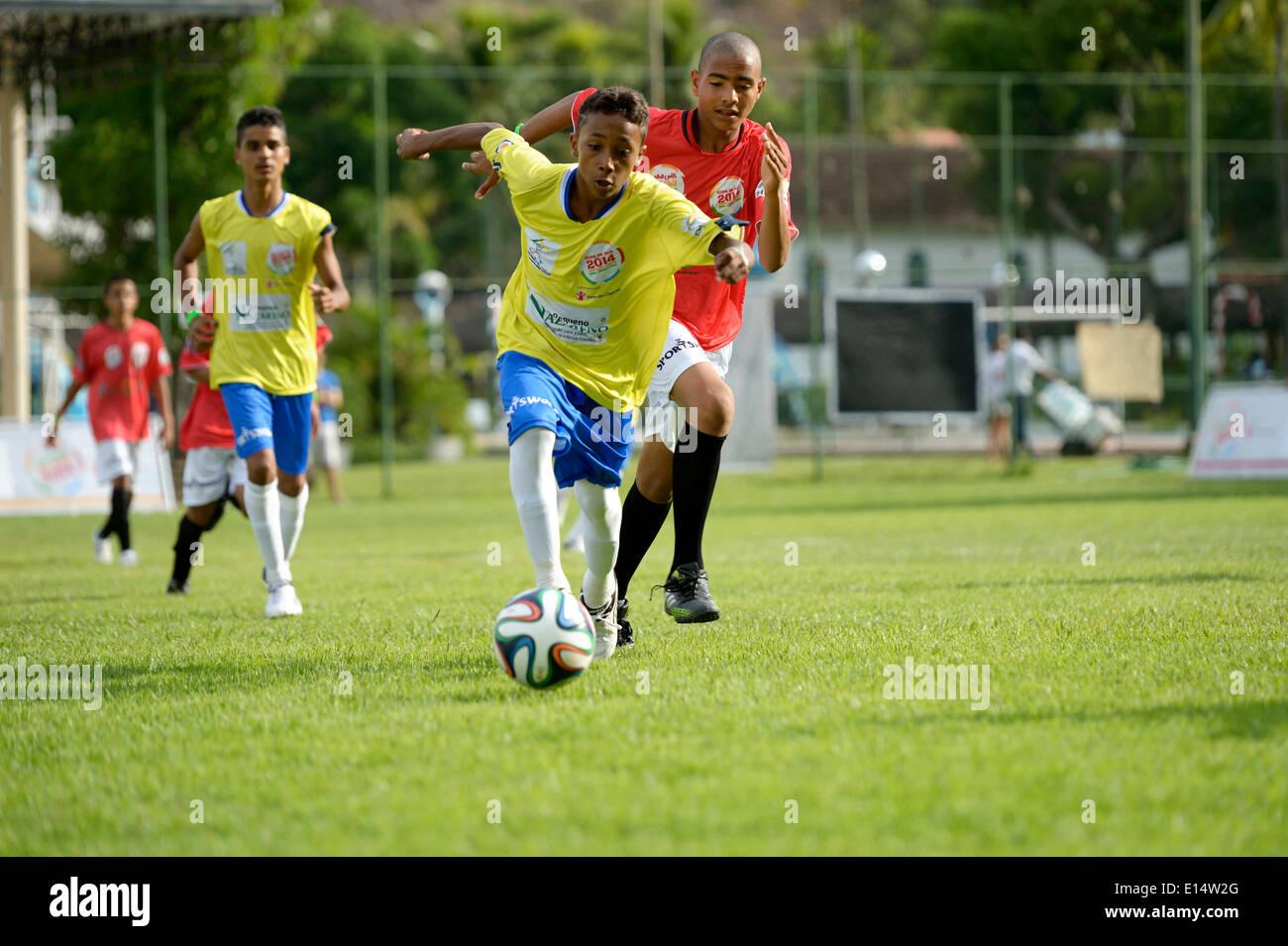 Soccer match, Brazil vs Egypt, Street Children World Cup 2014, Rio de Janeiro, Rio de Janeiro State, Brazil - Stock Image