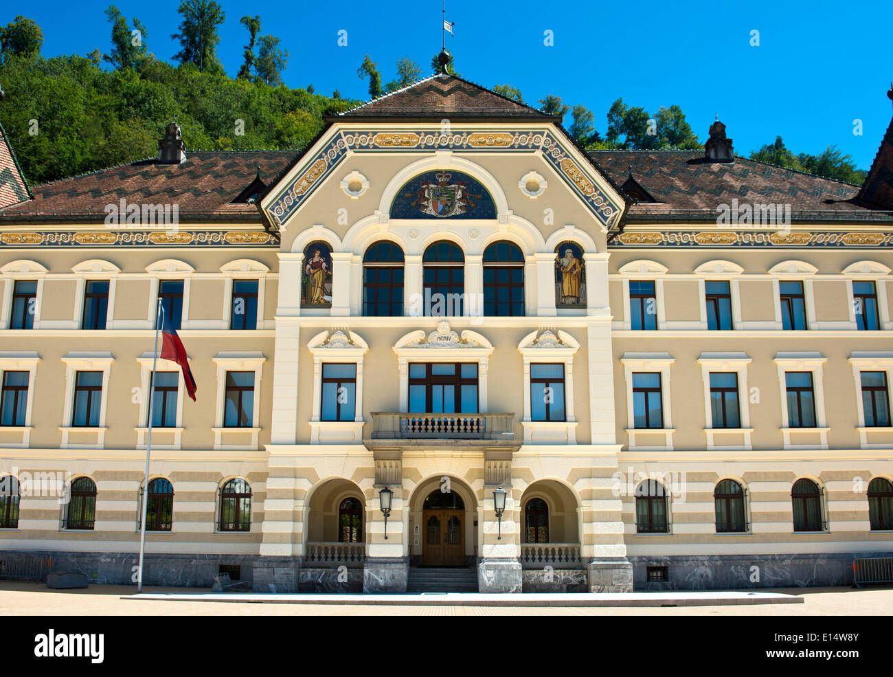 Government building of the Principality of Liechtenstein, Vaduz, Principality of Liechtenstein - Stock Image