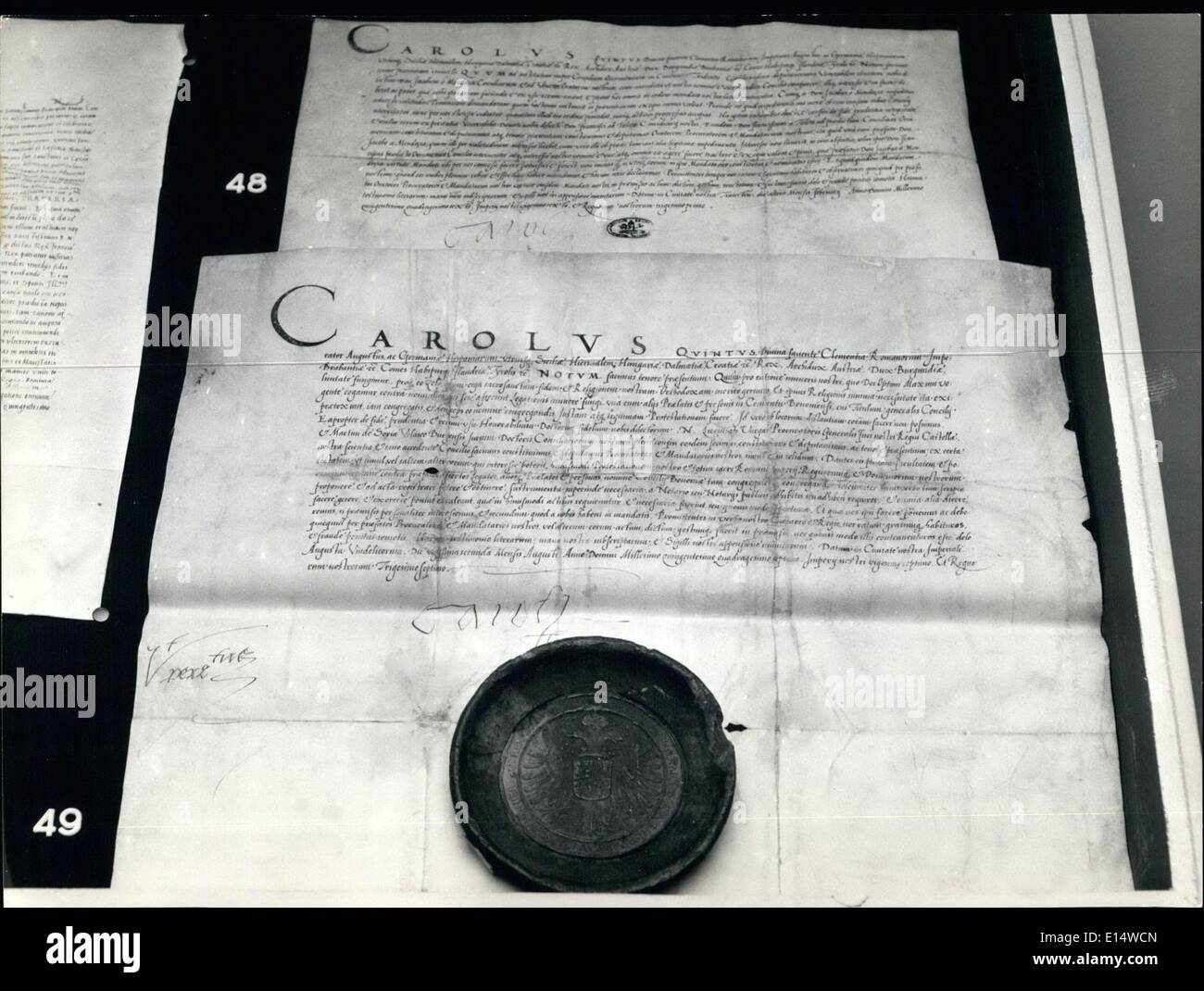 Apr. 18, 2012 - Letter from the Emperor Carl V dated Utrecht 2 February 1543 ans August 22 august 1547 - Stock Image