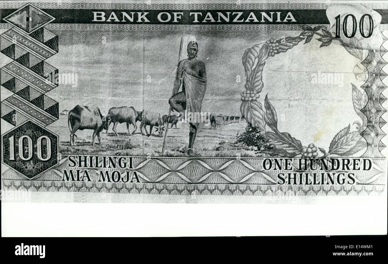 Apr. 18, 2012 - A symbol of the old way of life may also disappear from the Tanzania 100 shilling (£5) banknote which shows a Masai in traditional garb and pose. Tanzania is likely to change this design when present stocks are exhausted - Stock Image