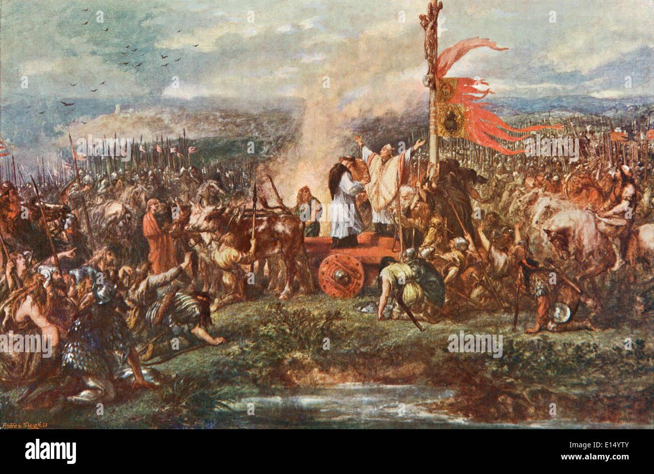 The Battle of the Standard, aka the Battle of Northallerton, 22 August 1138, Cowton Moor near Northallerton,Yorkshire, England. - Stock Image