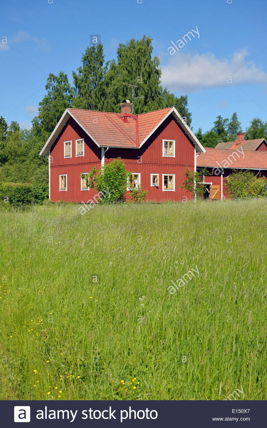 Sweden, Dalarna, Typical red wooden house - Stock Image