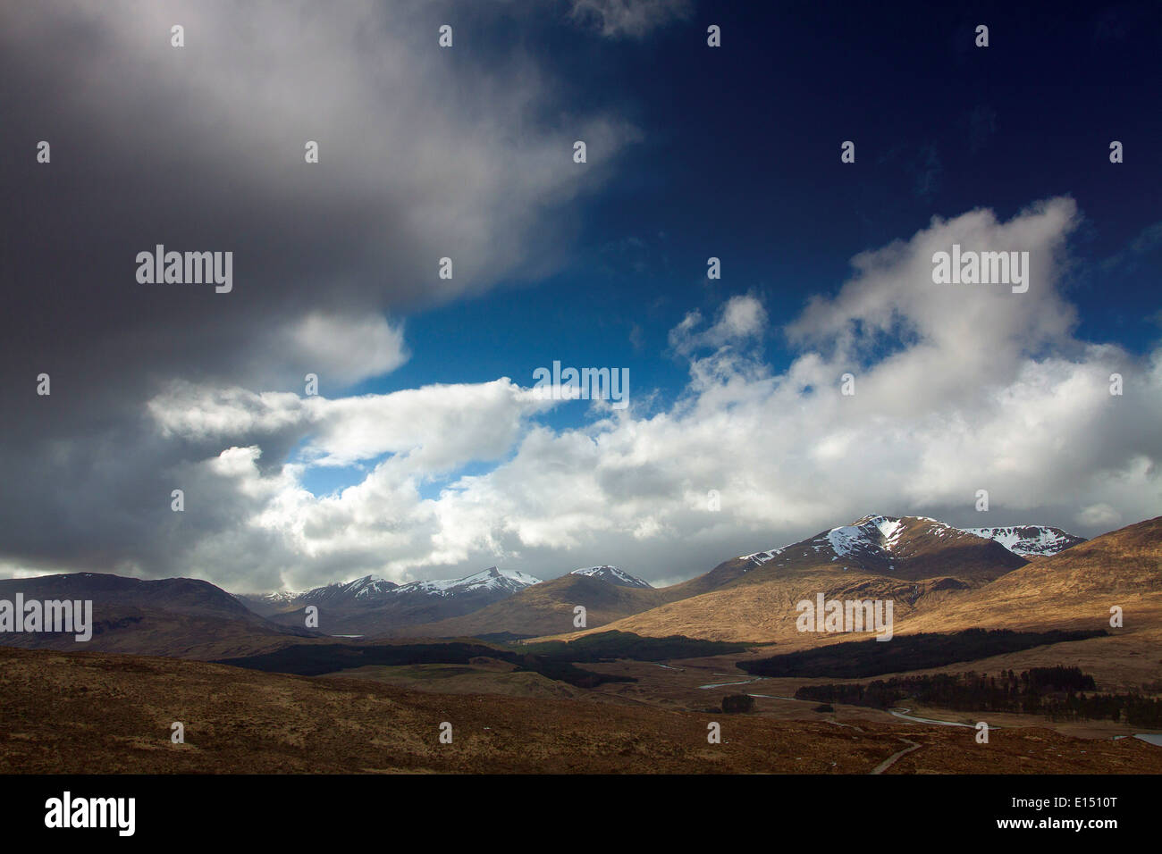 The Glen Etive Mountains from Mam Carraigh on the West Highland Way, Bridge of Orchy, Argyll & Bute - Stock Image