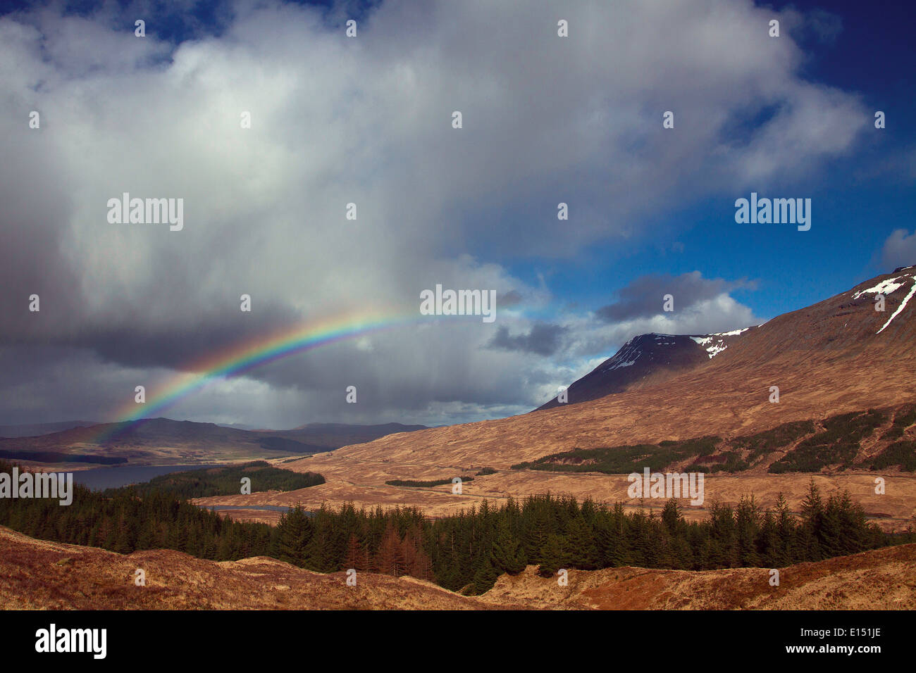 Rainbow over Glen Orchy from Mam Carraigh on the West Highland Way, Bridge of Orchy, Argyll & Bute - Stock Image