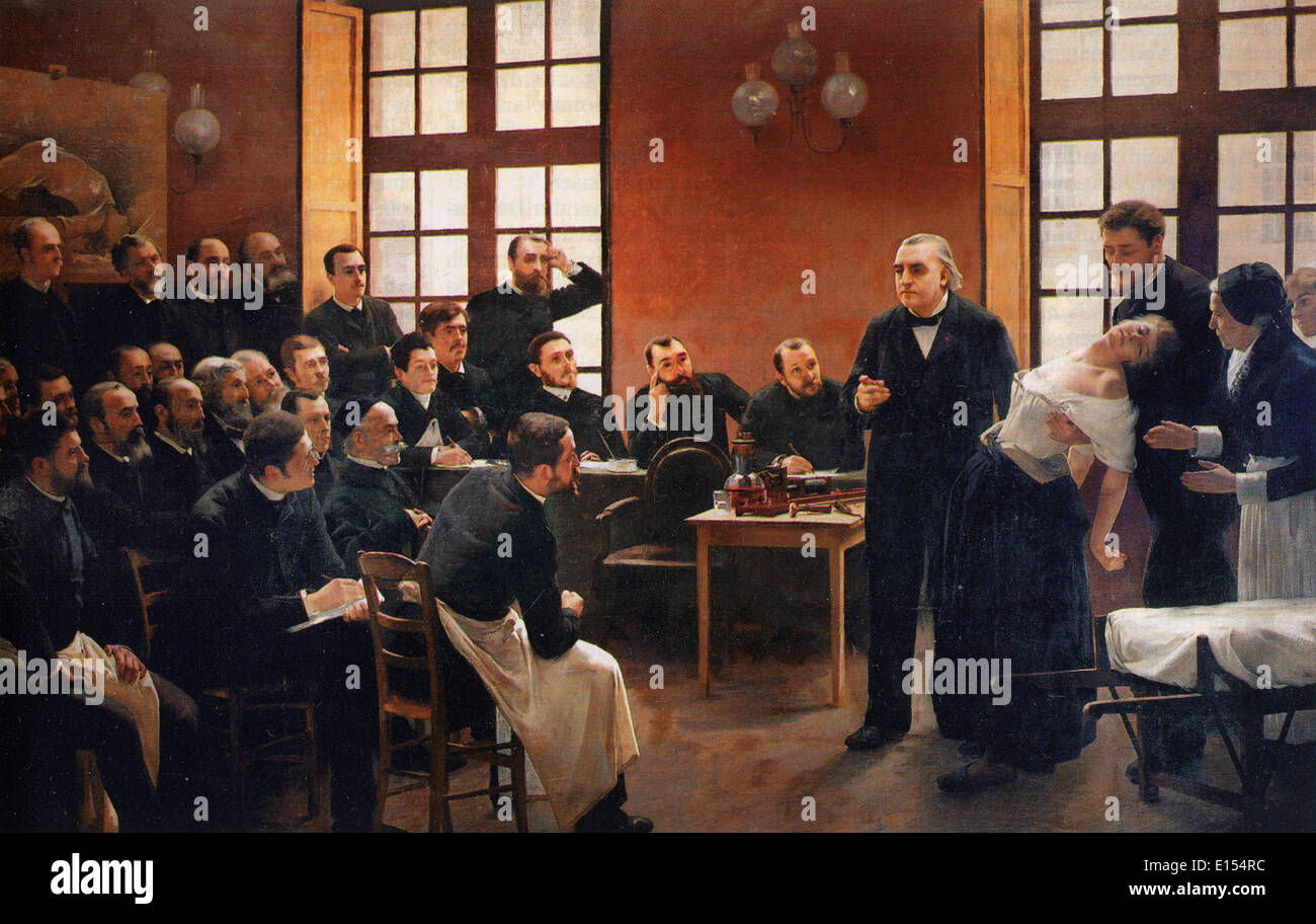 JEAN-MARTIN CHALCOT (1825-1893) French neurologist demonstrating hypnosis on a 'hysterical' patient - see Description below - Stock Image