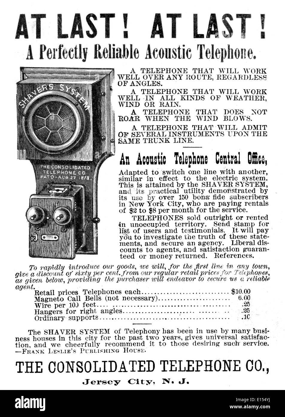 ACOUSTIC TELEPHONE ADVERT 1886 - Stock Image
