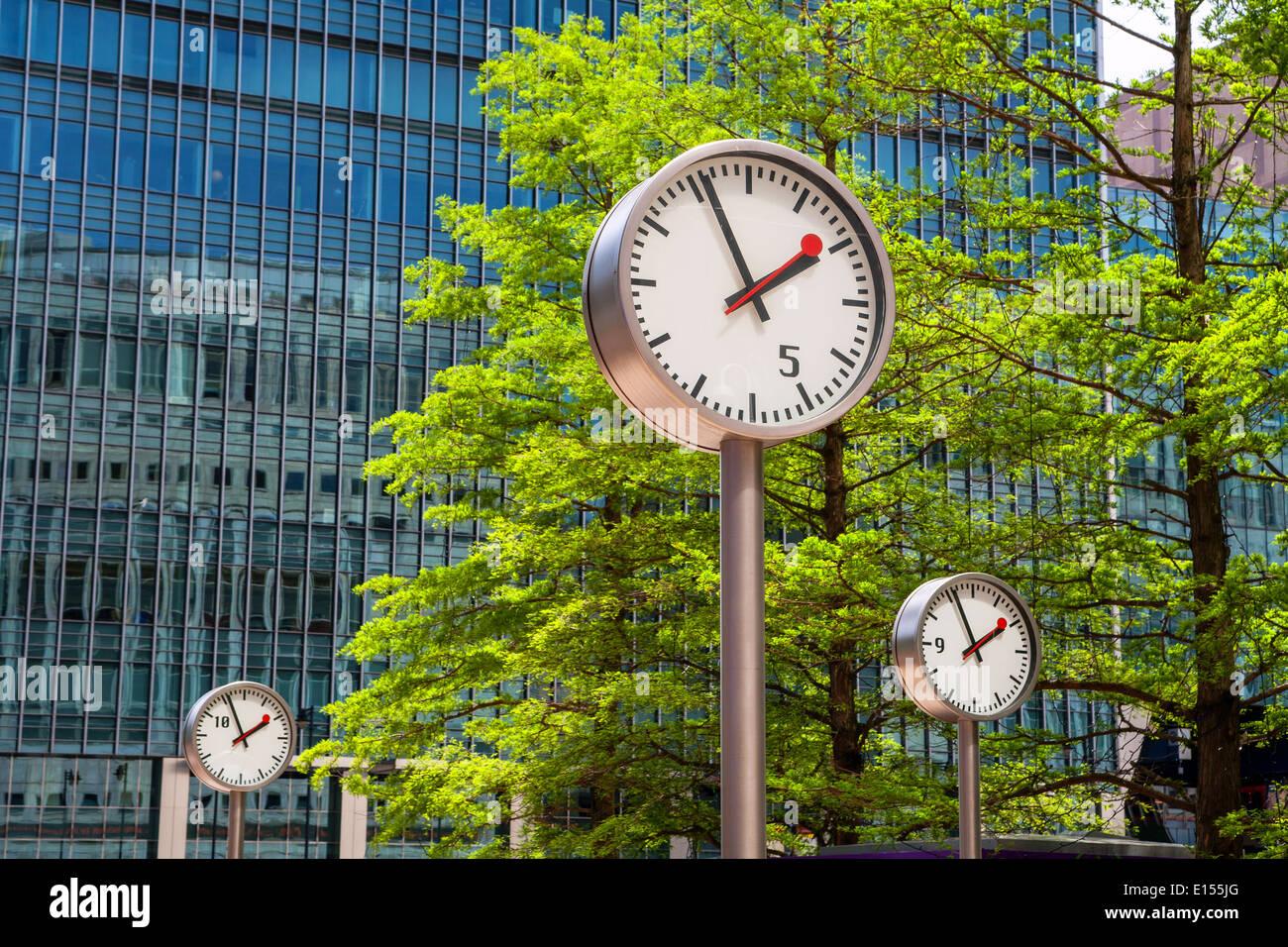 Canary Wharf Clocks. London, UK - Stock Image