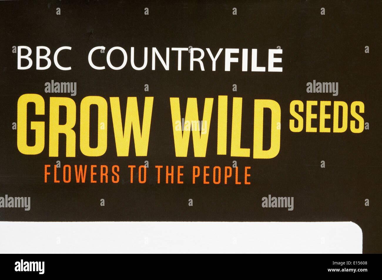 BBC Countryfile grow wild seeds flowers to the people - details on envelope with free wildflower seeds - Stock Image