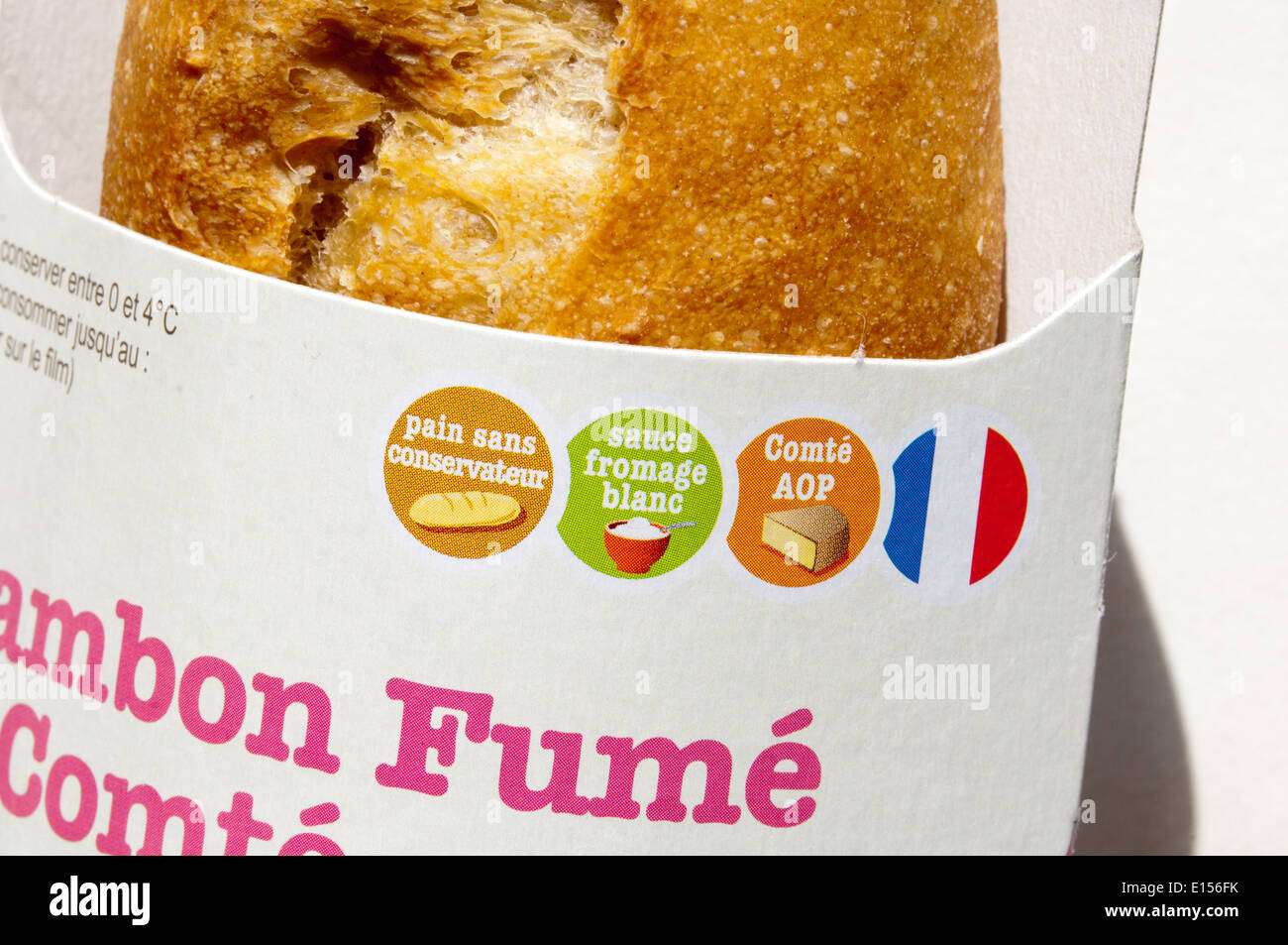 Symbols on packaging of a French sandwich. - Stock Image