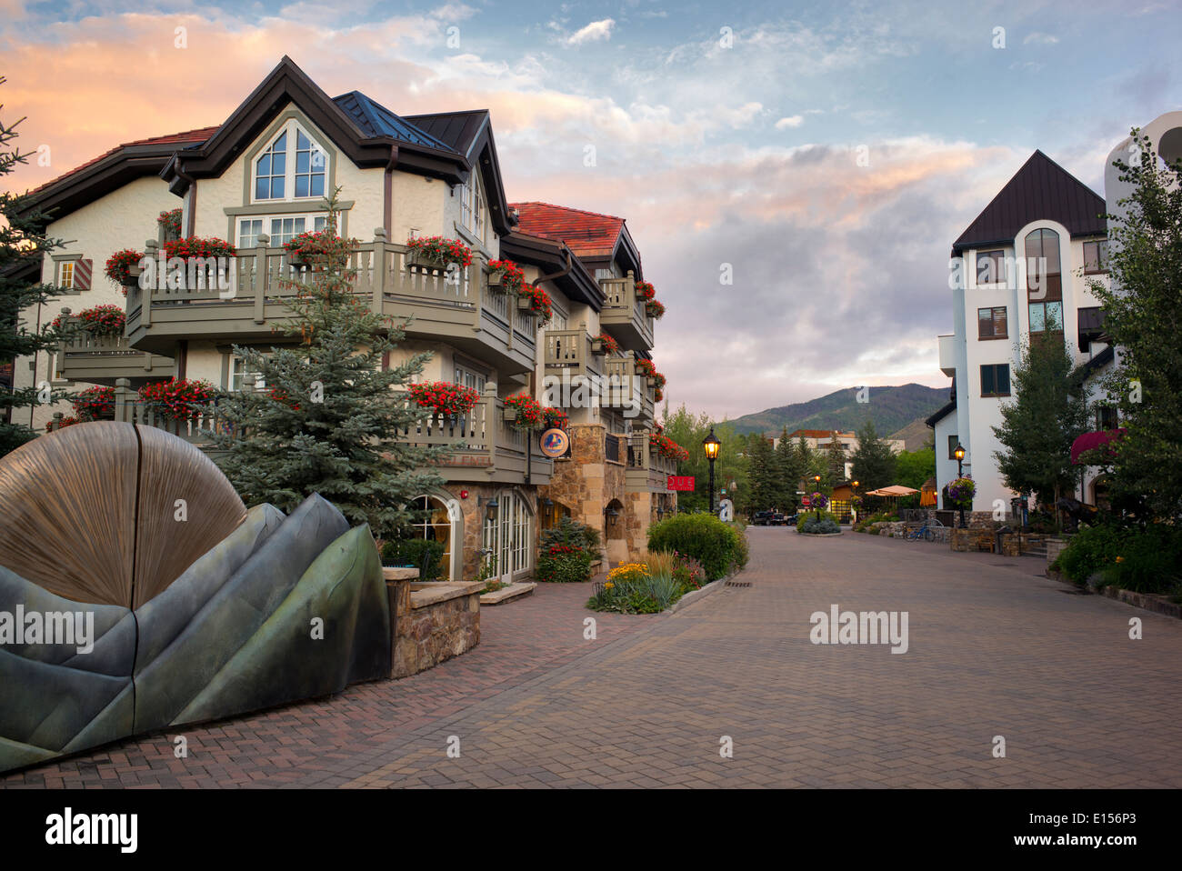 Main street in Vail village with sunrise. Vail Colorado Stock Photo