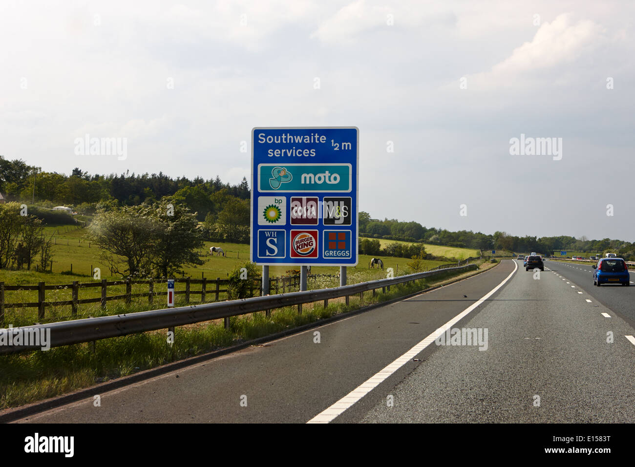 sign for southwaite services on the m6 motorway cumbria uk - Stock Image