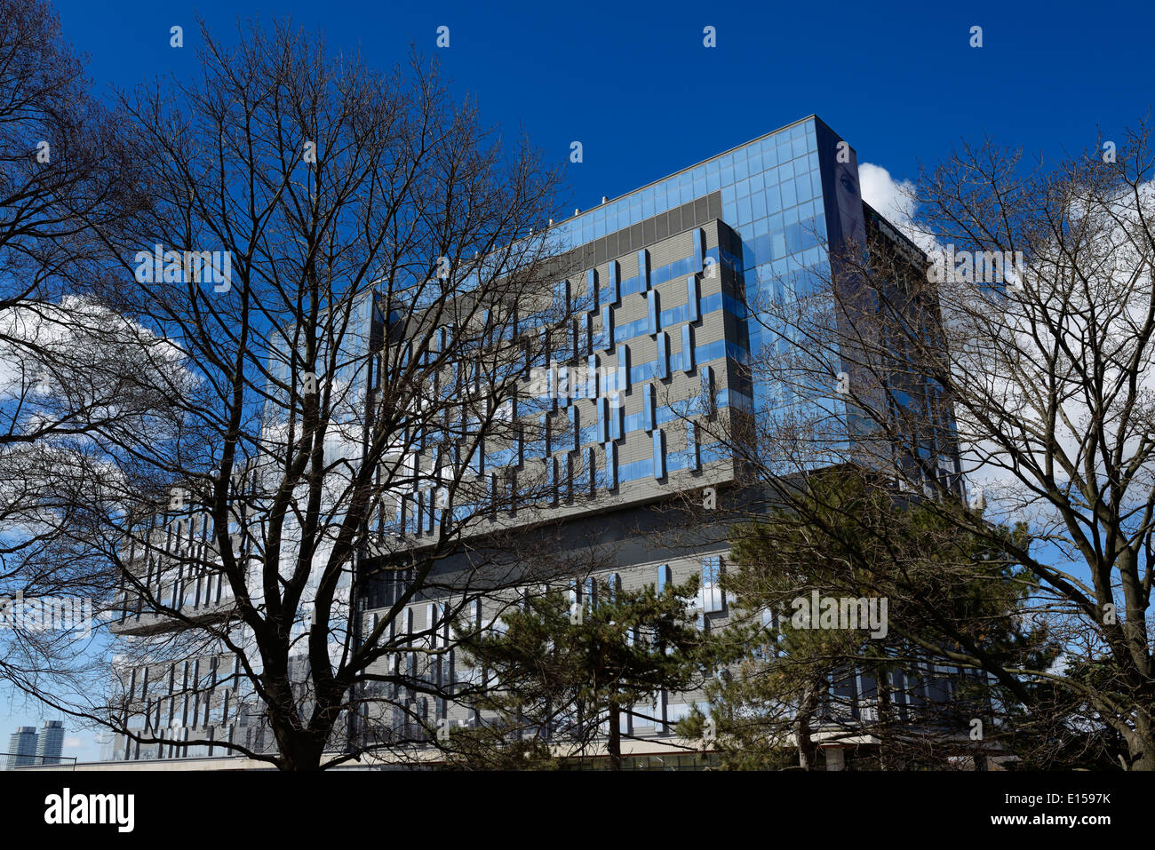 Newly constructed blue Hospital Bridgepoint Active Health Care Centre building Toronto - Stock Image