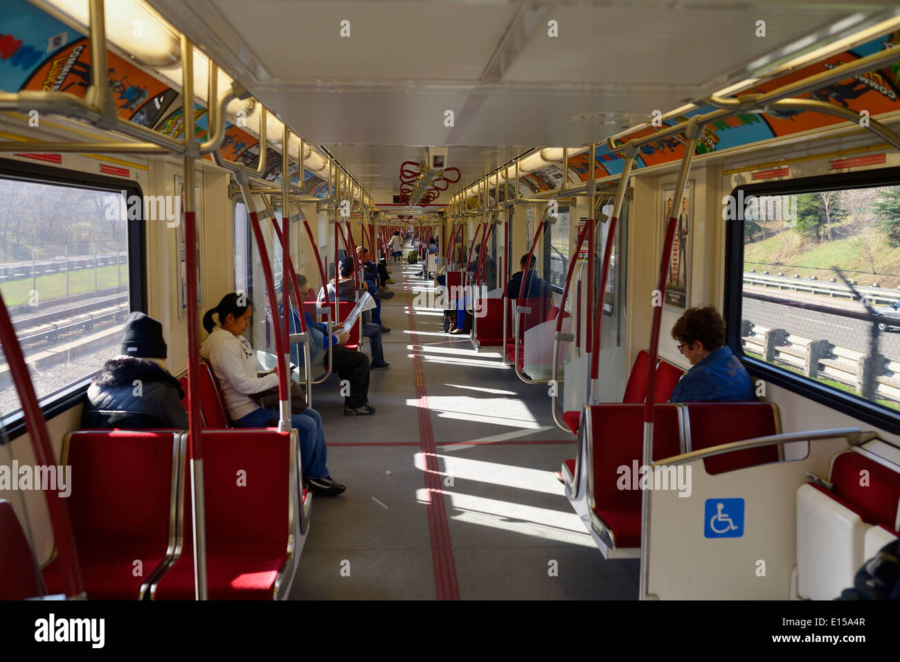 New TTC subway cars with open interior gangways called the Toronto Rocket outside at Allan Expressway - Stock Image