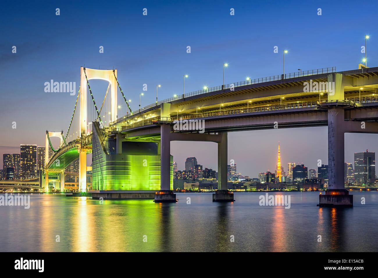 Tokyo, Japan at Tokyo Bay and Rainbow Bridge. - Stock Image
