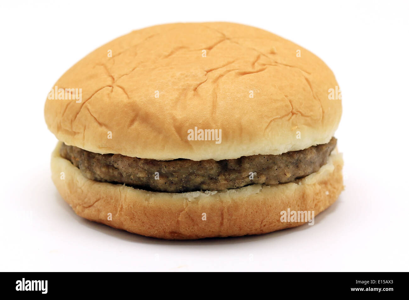 delicious hamburger american fastfood isolated on white background - Stock Image
