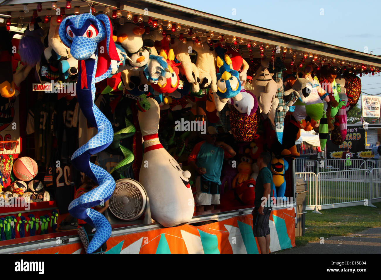 Carnival Snake Midway Carnival Games And Stuffed Animals Stock