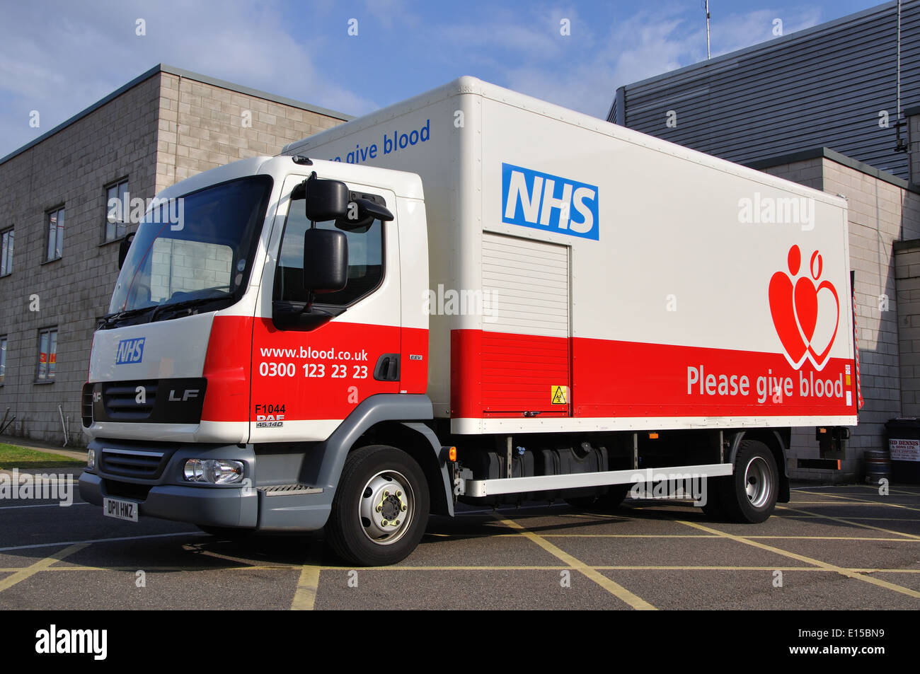 NHS blood donation lorry, Skegness, Lincolnshire, England, UK - Stock Image