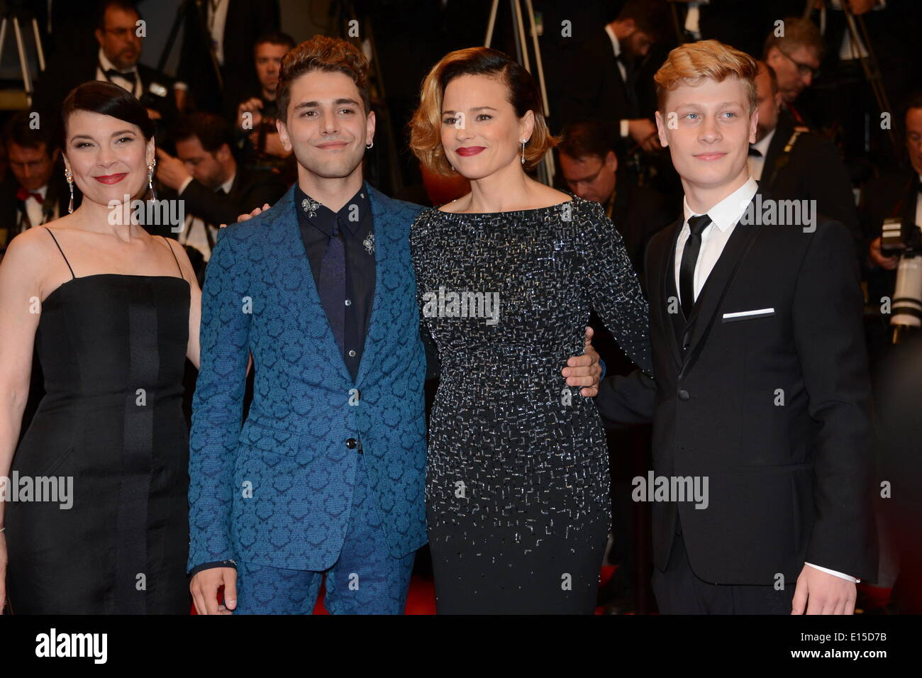 Cannes, France. 22nd May, 2014. CANNES, FRANCE - MAY 22: Nancy Grant, Suzanne Clement, Anne Dorval, director Xavier Dolan and Olivier Pilon attend the 'Mommy' premiere during the 67th Annual Cannes Film Festival on May 22, 2014 in Cannes, France Credit:  Frederick Injimbert/ZUMAPRESS.com/Alamy Live News - Stock Image