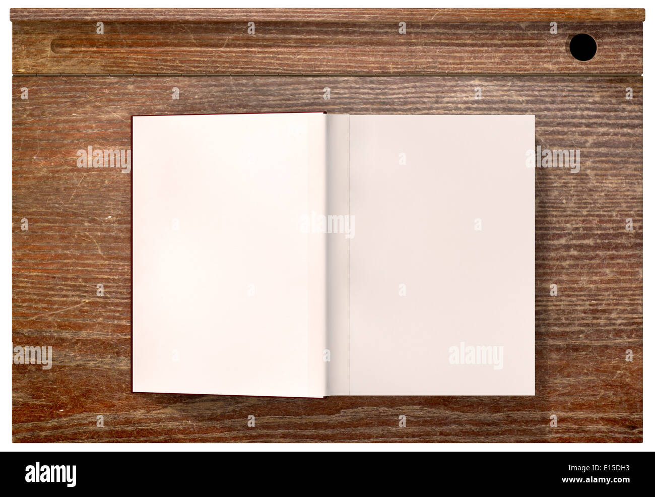 A Direct Top View Of A Vintage School Desk And An Open Blank Paged Book On  An Isolated Background