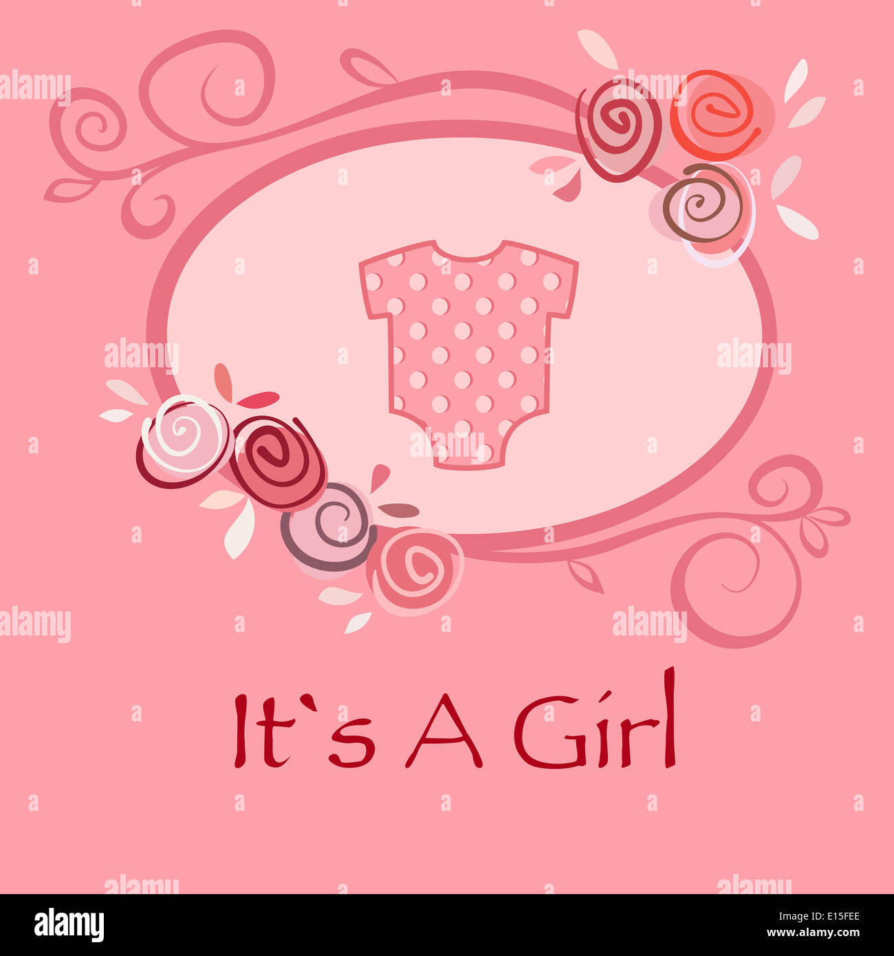 Baby Girl Greeting And Announcement Postcard With Pink Suit For