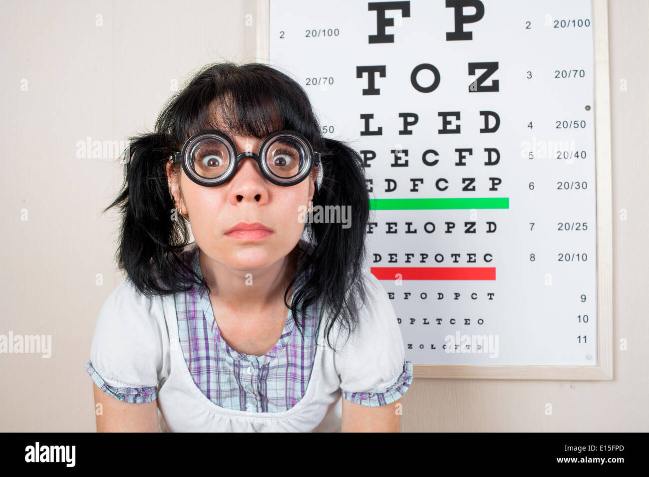 Funny Portrait Blind Nerd Woman Stock Photos Funny Portrait Blind