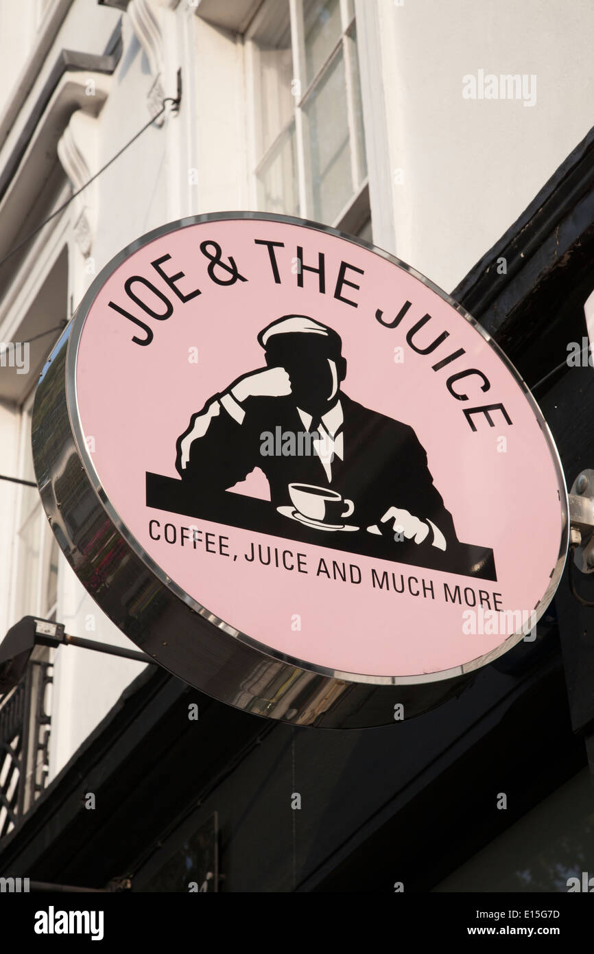 Joe and the Juice Cafe Sign; Kings Road; Chelsea; London; England; UK - Stock Image