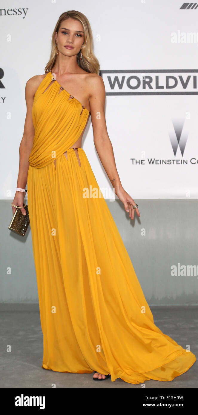 Cannes, France. 22nd May 2014. British model Rosie Huntington Whiteley attends the Cinema Against AIDS amfAR gala Stock Photo