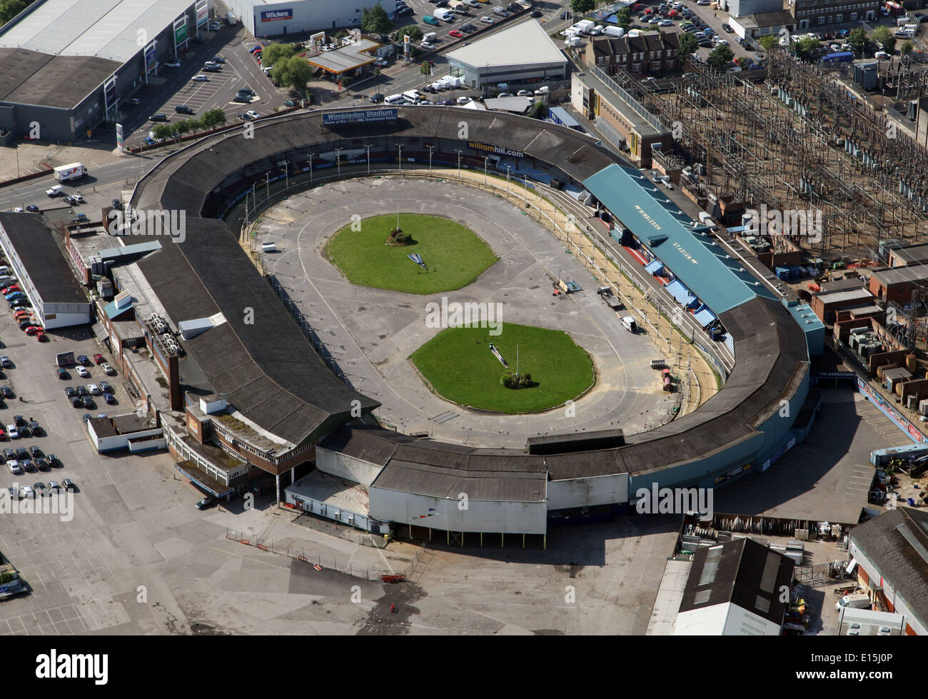 aerial view of Wimbledon Greyhound Stadium in South West London, also used for speedway and stock car racing - Stock Image