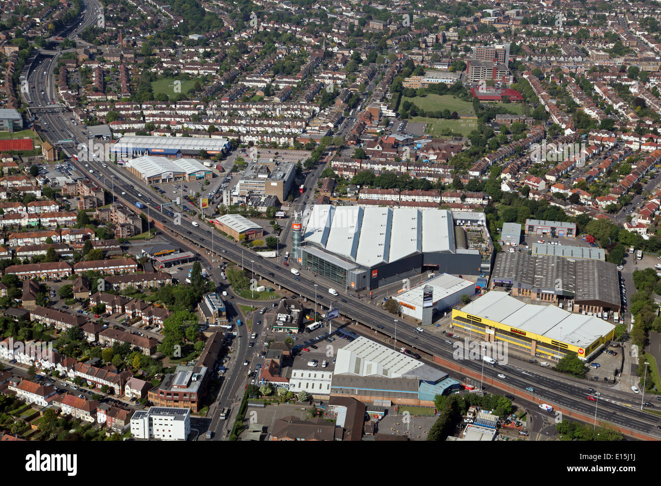 aerial view of the A3 main trunk road as it sweeps through New Malden in south west London - Stock Image