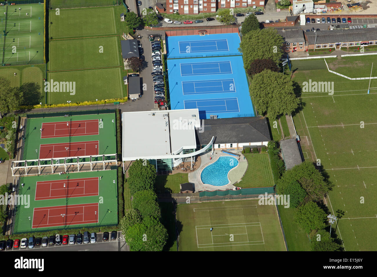 aerial view of The Roehampton Club, a exclusive sports club in Roehampton London - Stock Image