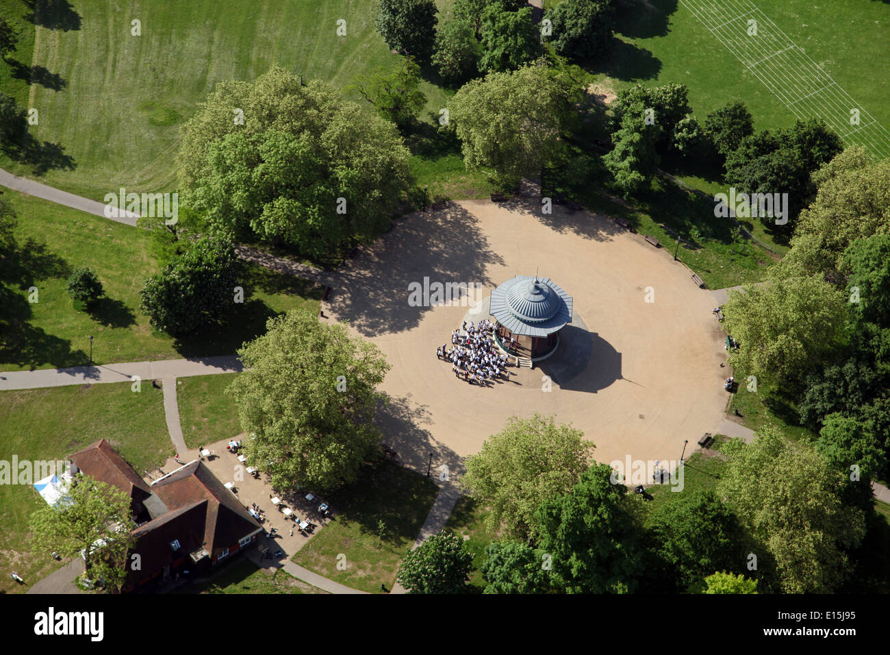 aerial view of the bandstand on Clapham Common in south west London - Stock Image