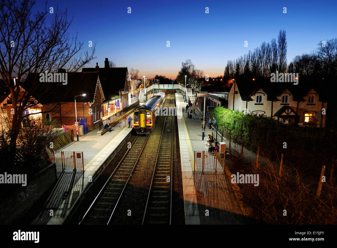 Widnes North railway station where the singer / songwriter is believed to have written the hit song 'Homeward Bound'. - Stock Image