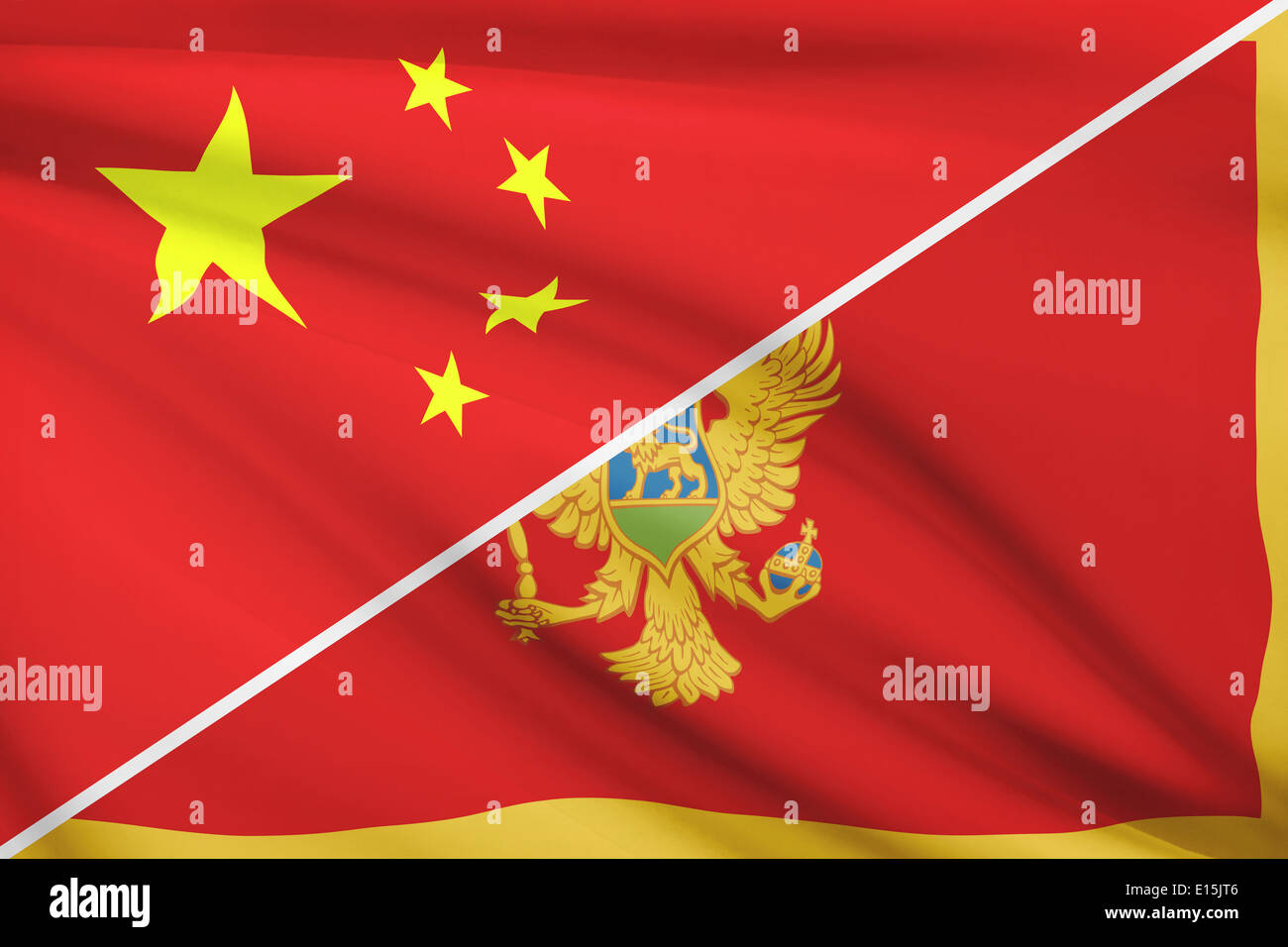 Flags of China and Montenegro blowing in the wind. Part of a series. Stock Photo