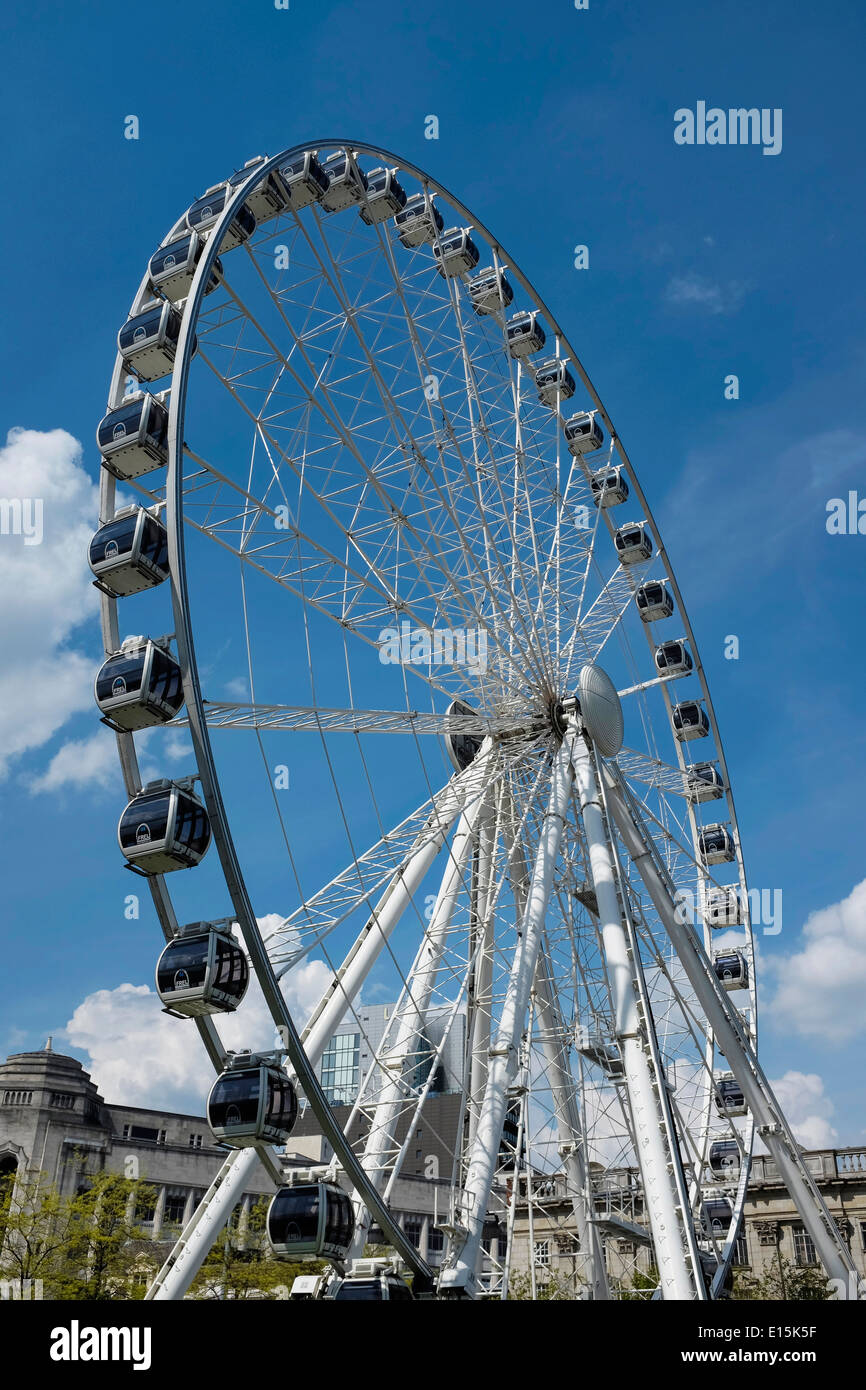 Big wheel in Piccadilly Gardens in Manchester city centre UK - Stock Image
