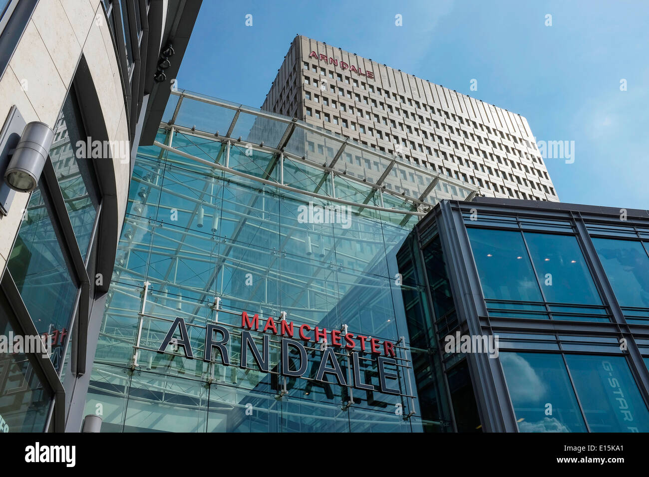 The Manchester Arndale shopping centre and tower block UK - Stock Image