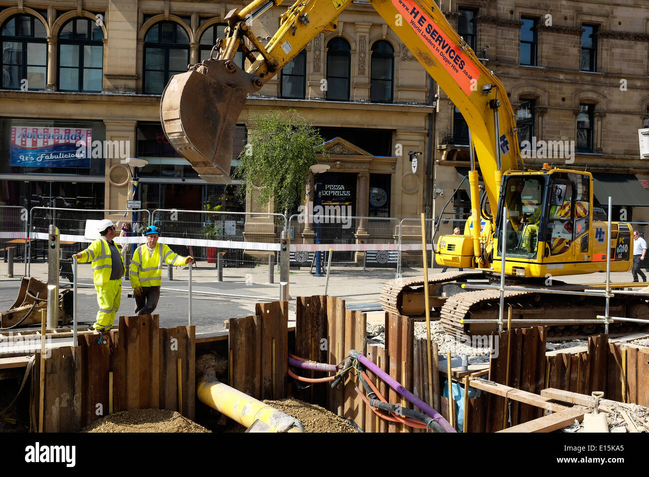 Utilities works in Manchester city centre UK - Stock Image