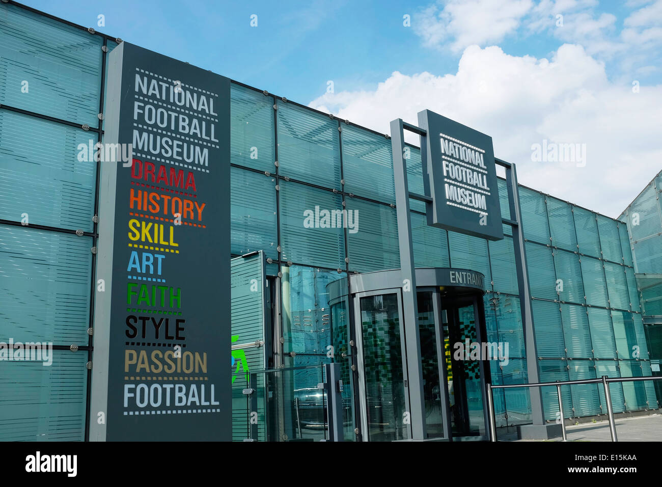 The entrance to the National Football Museum in Manchester city centre UK - Stock Image