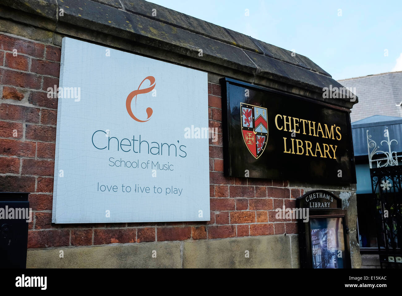 Signage outside Chethams School of Music in Manchester city centre UK - Stock Image