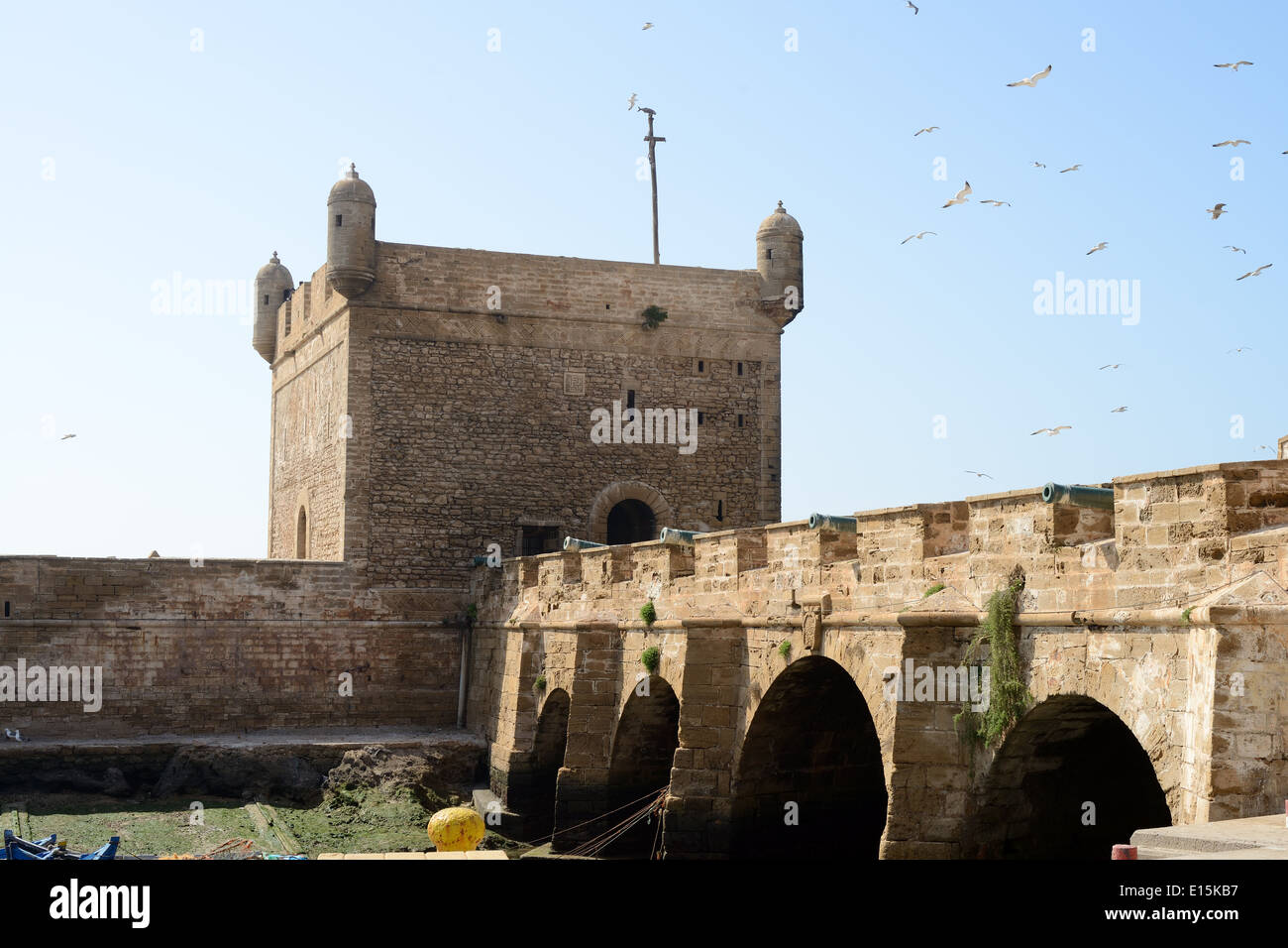 Fortifications showing tower and canons in Essaouira in Morroco - Stock Image