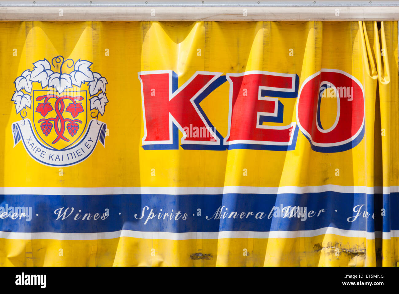 'Keo' curtain side beer delivery truck. - Stock Image