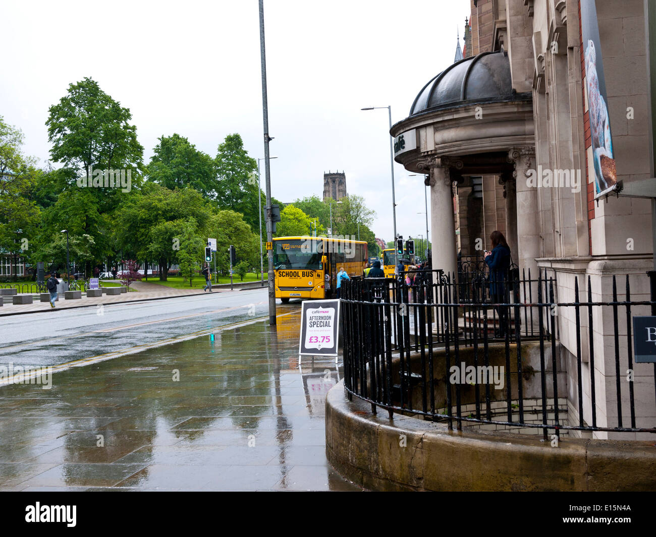 Oxford Street in the rain, Manchester,England, UK. - Stock Image