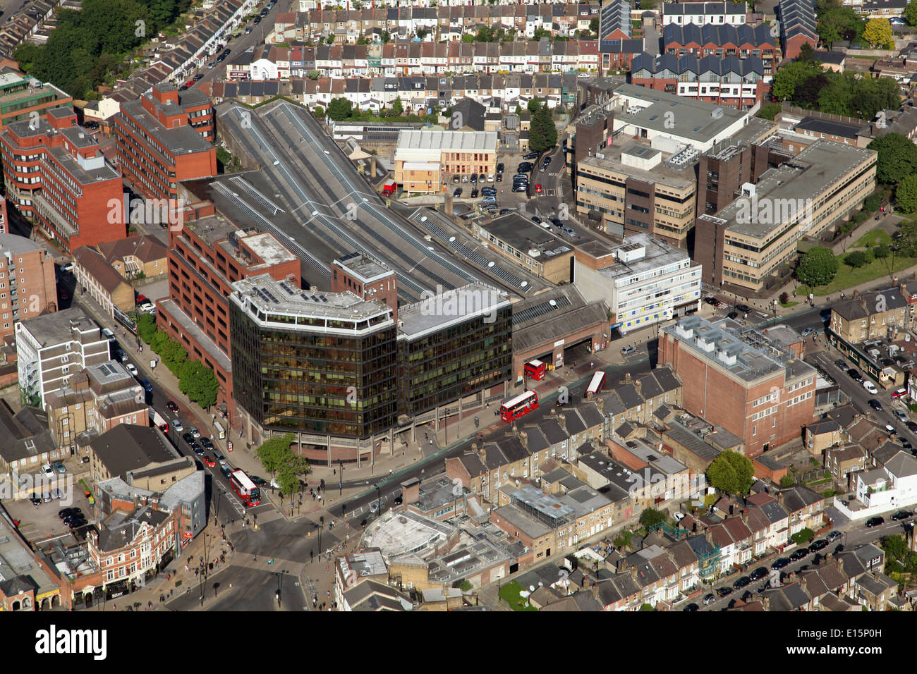 aerial view of Wood Lane Bus Garage in North London, where London buses live - Stock Image
