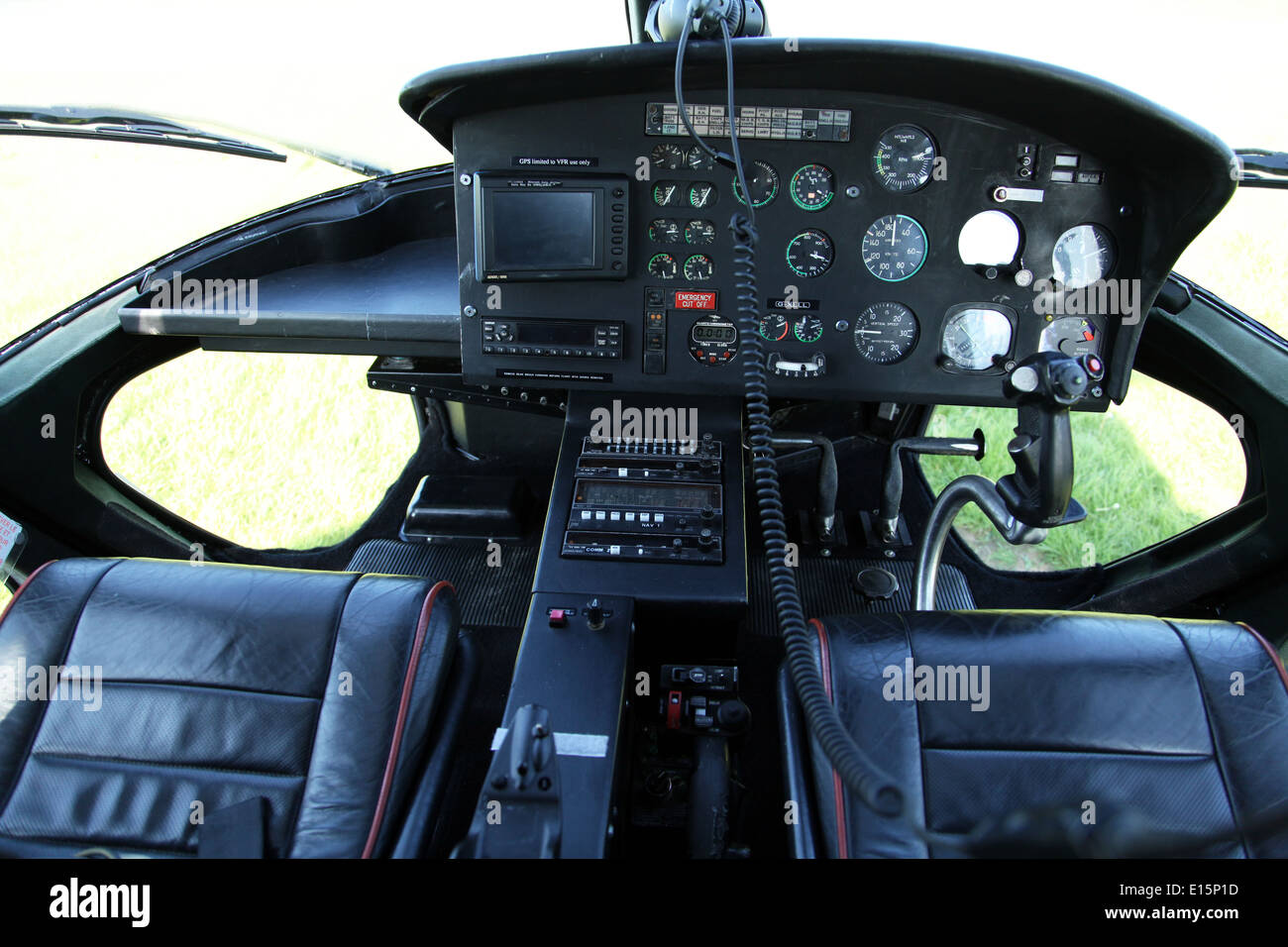 the cockpit controls of an Aerospatiale AS55 Twin Squirrel helicopter aircraft - Stock Image