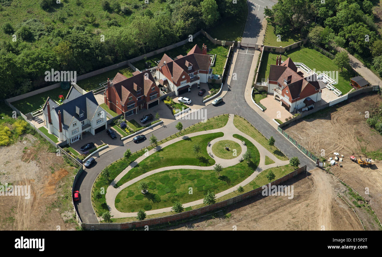 aerial view of new housing, expensive detached houses in Chigwell, Essex, UK - Stock Image