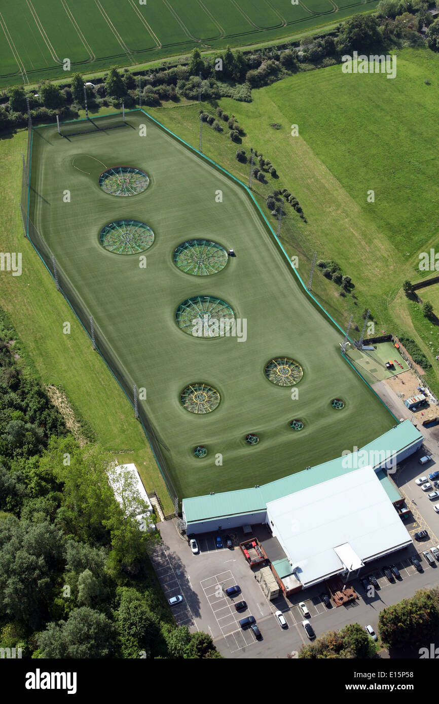aerial view of Topgolf Chigwell, a modern golf driving range at Chigwell, Essex - Stock Image