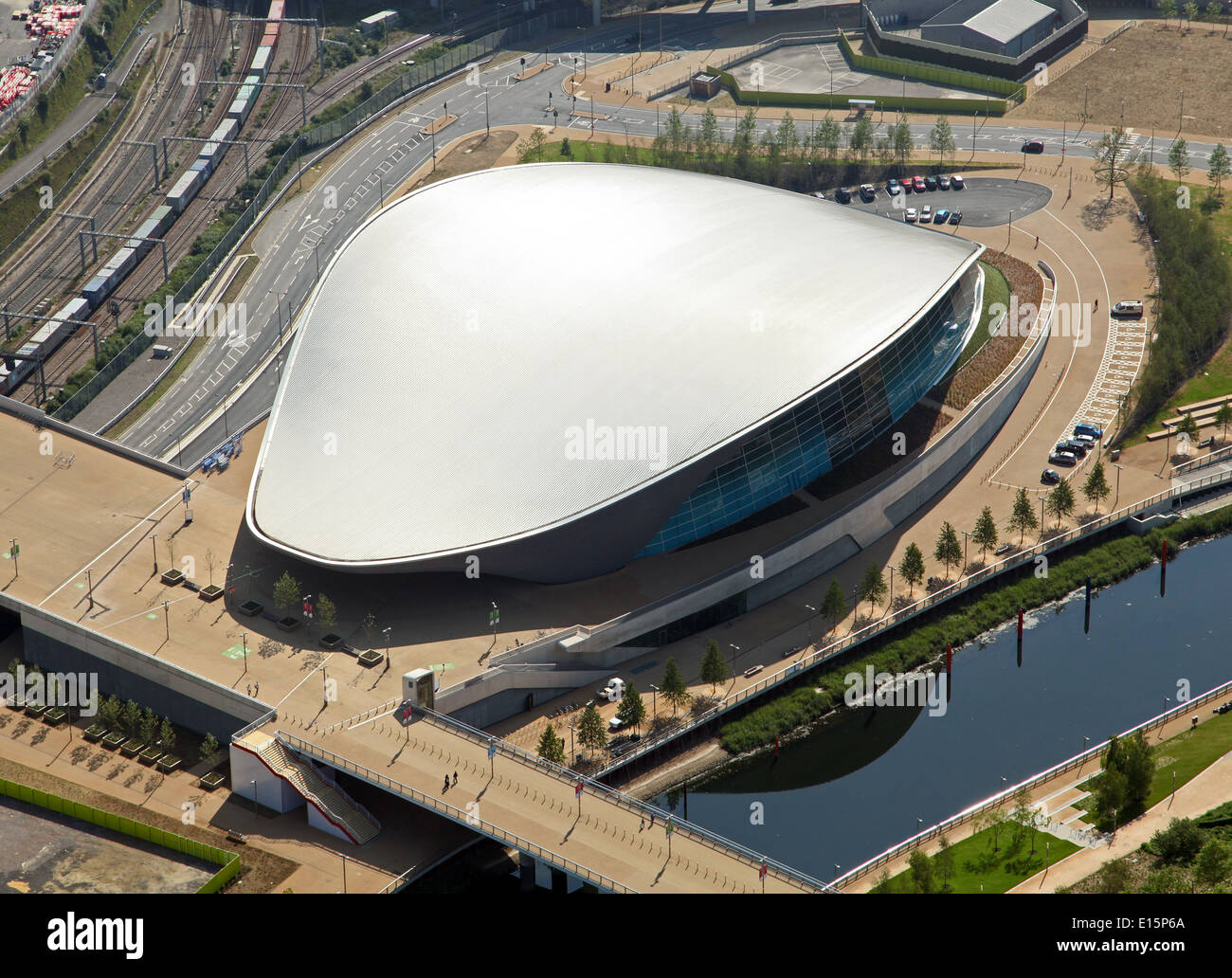 aerial view of the Olympic Velodrome pringle building, officially Lee Valley VeloPark, built for the 2012 London Olympics - Stock Image