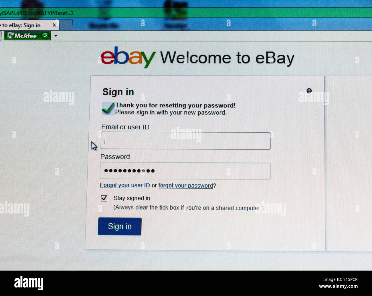 On 21st May 2014 Online Marketplace Ebay Said It Is Forcing Users To Stock Photo Alamy