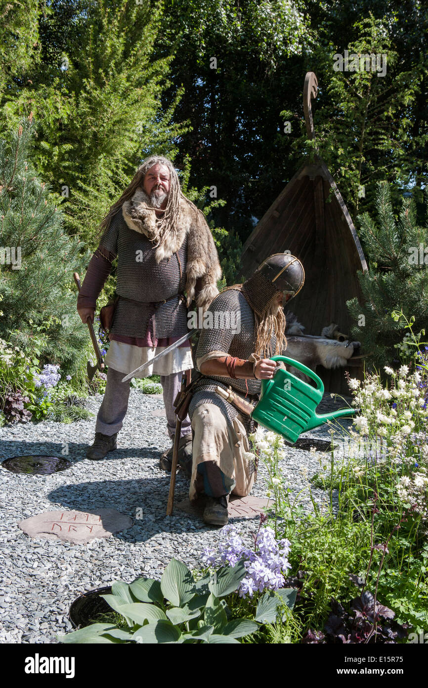 RHS Chelsea flower show 2014 - The Viking Cruises Norse Garden - Designer Sadie May Stowell - Stock Image