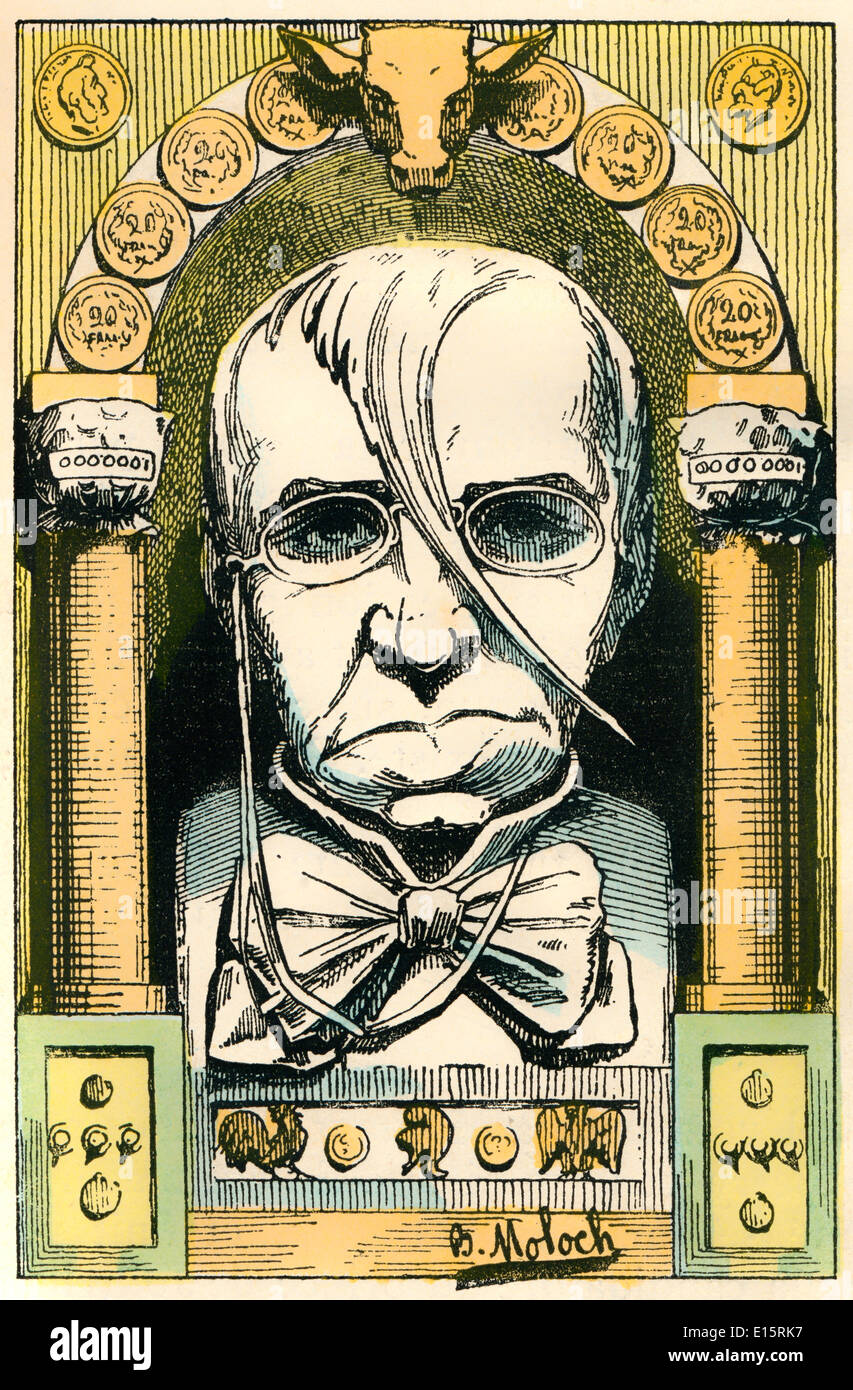 Émile de Girardin, 1802 - 1881, a French journalist, publicist, and politician, Political caricature, 1882, by Alphonse Hector C - Stock Image