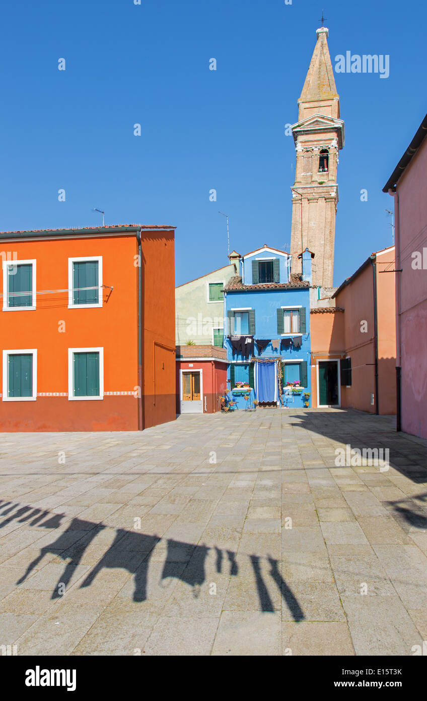 Venice - Houses and San Martin church tower from Burano island - Stock Image